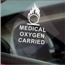 1  x Medical Oxygen Carried-WINDOW Sticker-Car,Van,Bus,Cab,Taxi Minicab,Ambulance-Health,Safety Sign